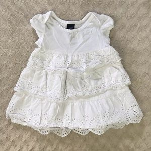 Baby Gap Solid White Dress Eyelet Lace Tiered